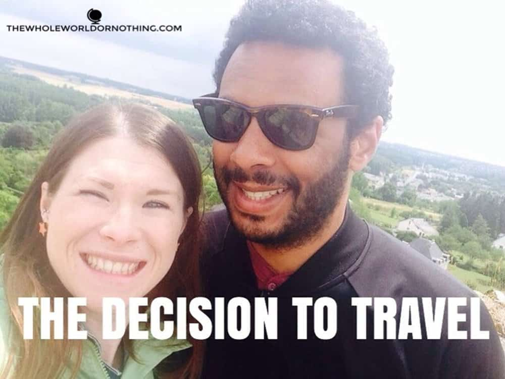 James and Sarah with text overlay the decision to travel
