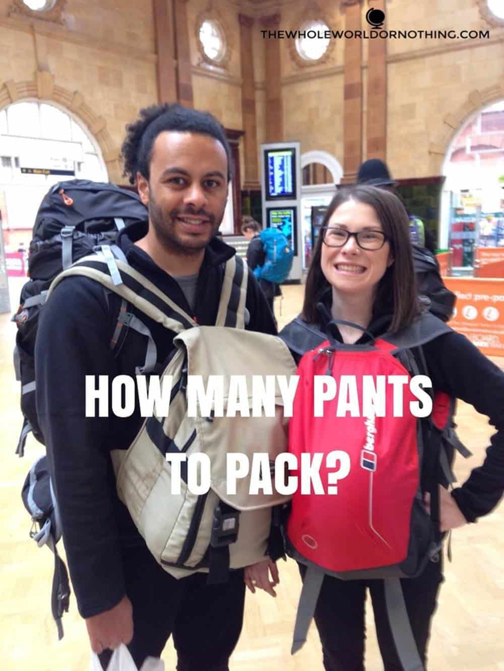 James and Sarah with text overlay How many pants to pack
