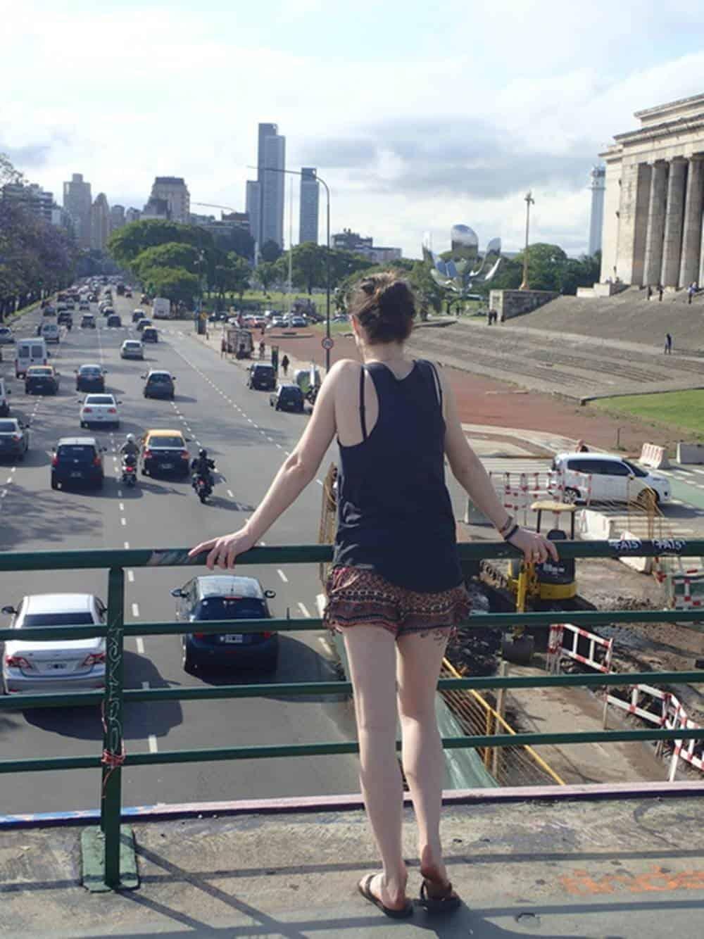 Sarah at the footbridge