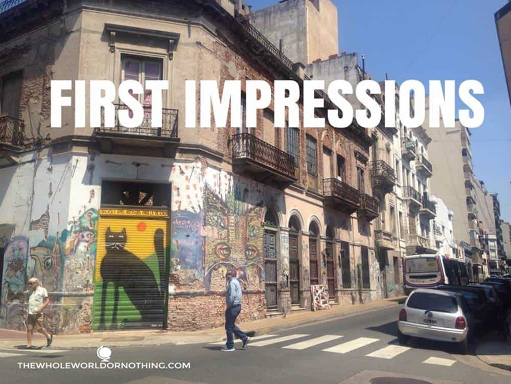 street art with text overlay first impressions