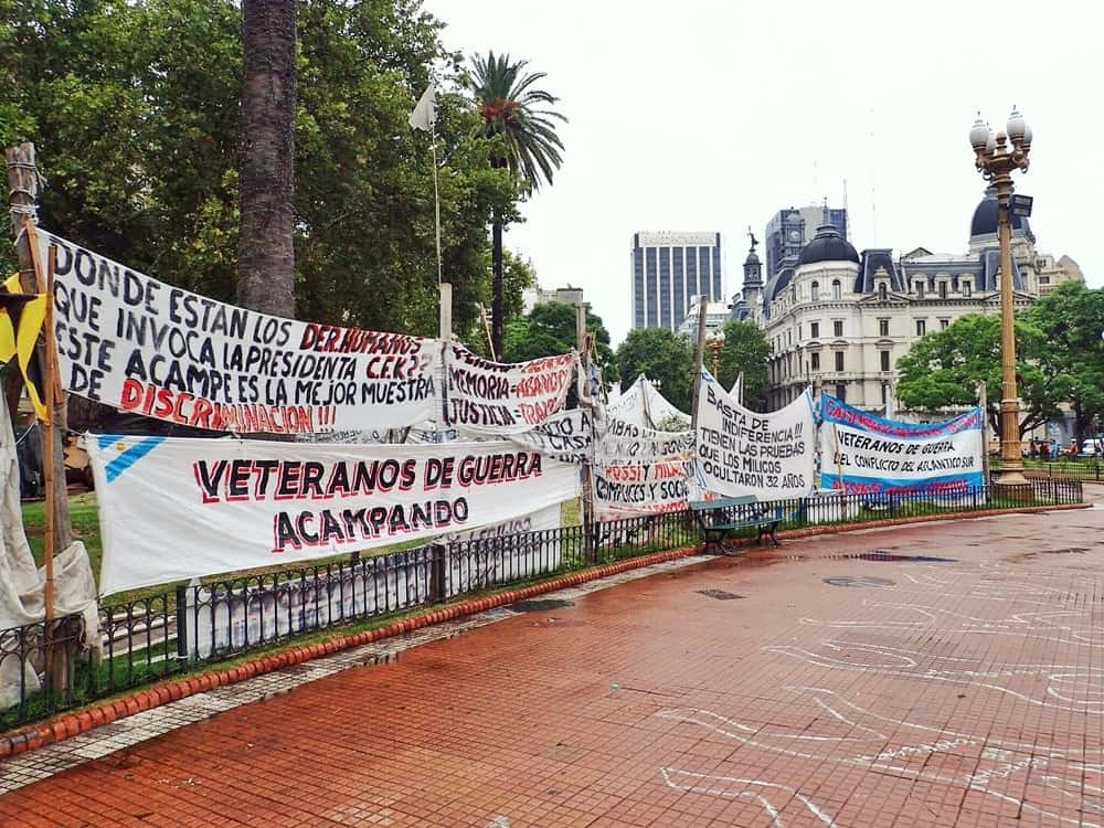 Madres of Plaza de Mayo protest banners