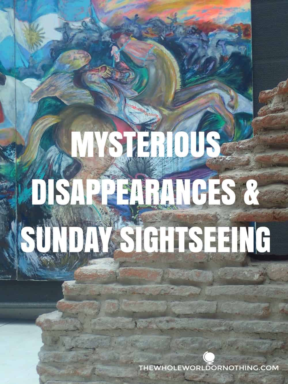 painting with text overlay MYSTERIOUS DISAPPEARANCES & SUNDAY SIGHTSEEING