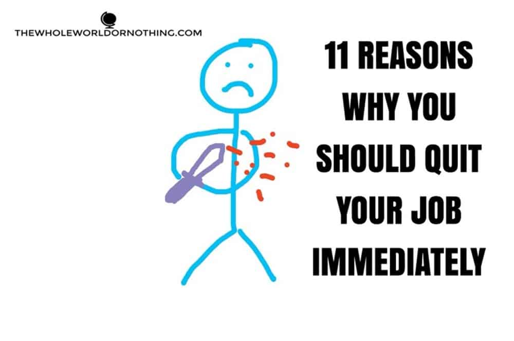 stickman with knife with text overlay 11 reasons why you should quit your job immediately