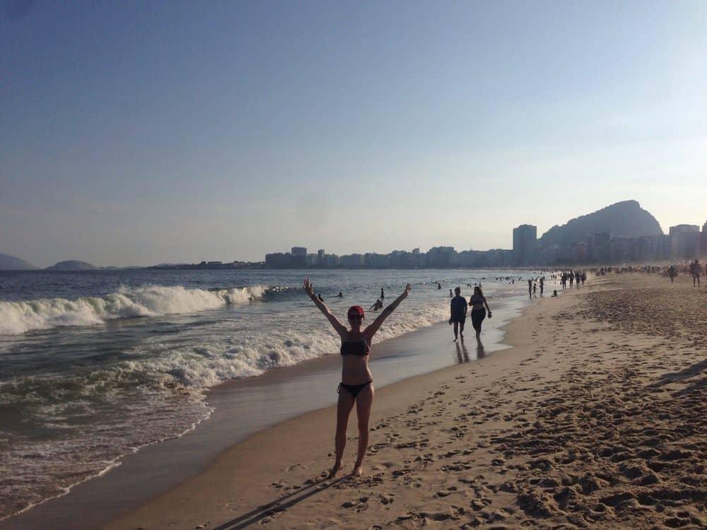 Sarah at Copacabana beach