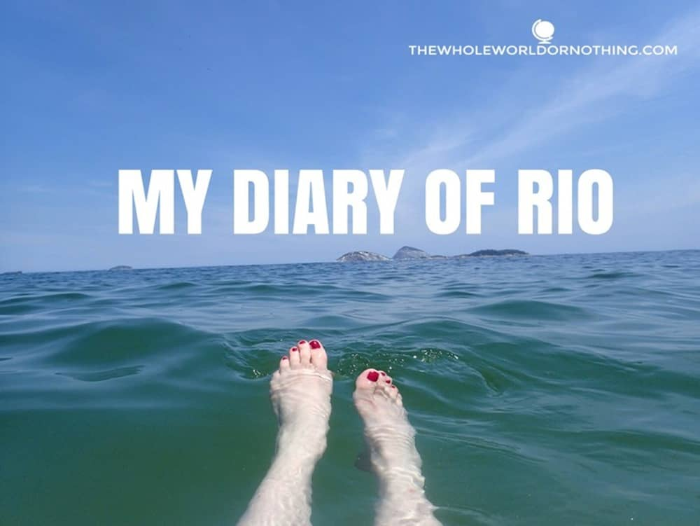 Sarah's toes with text overlay My Diary of Rio