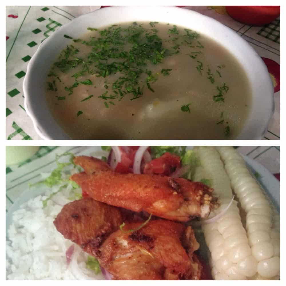 Chicken soup and chicken with rice, salad and corn