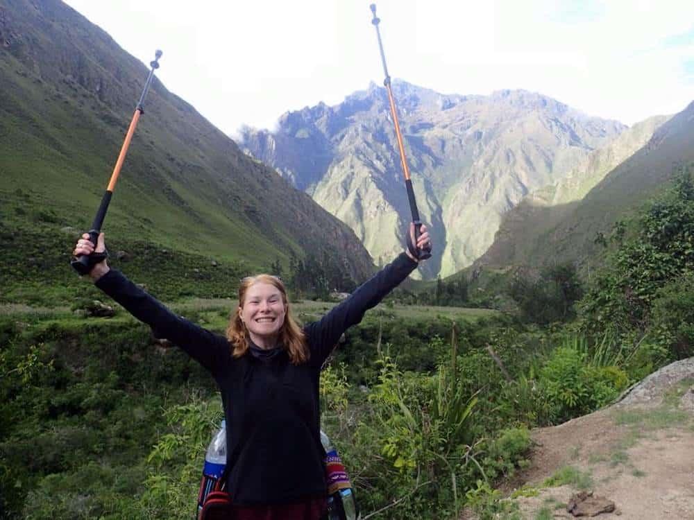 Sarah holding stick
