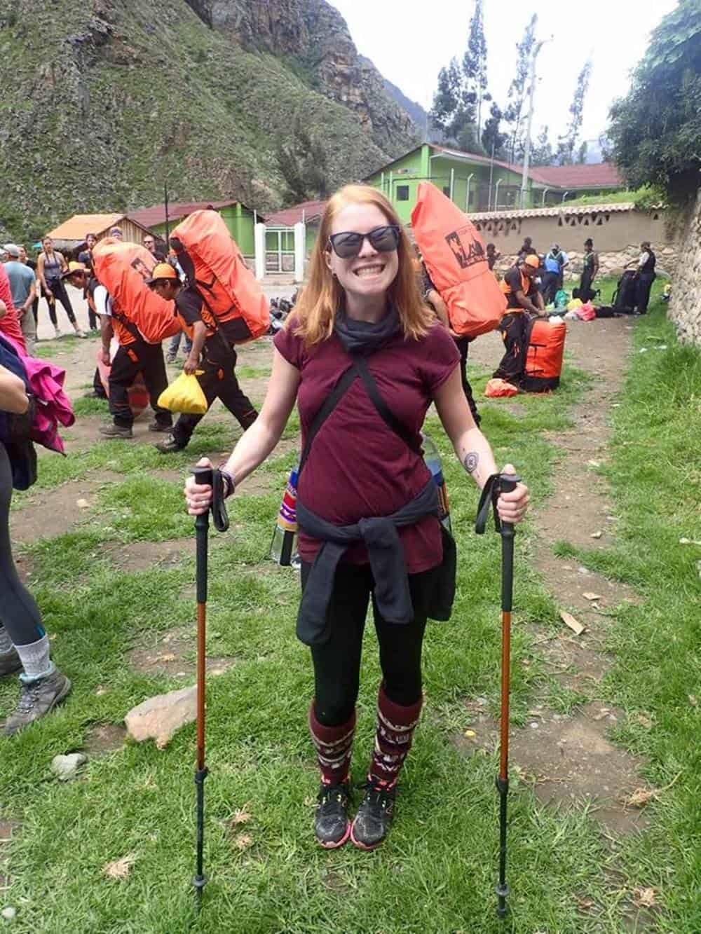 Sarah ready to hike the Machu Picchu