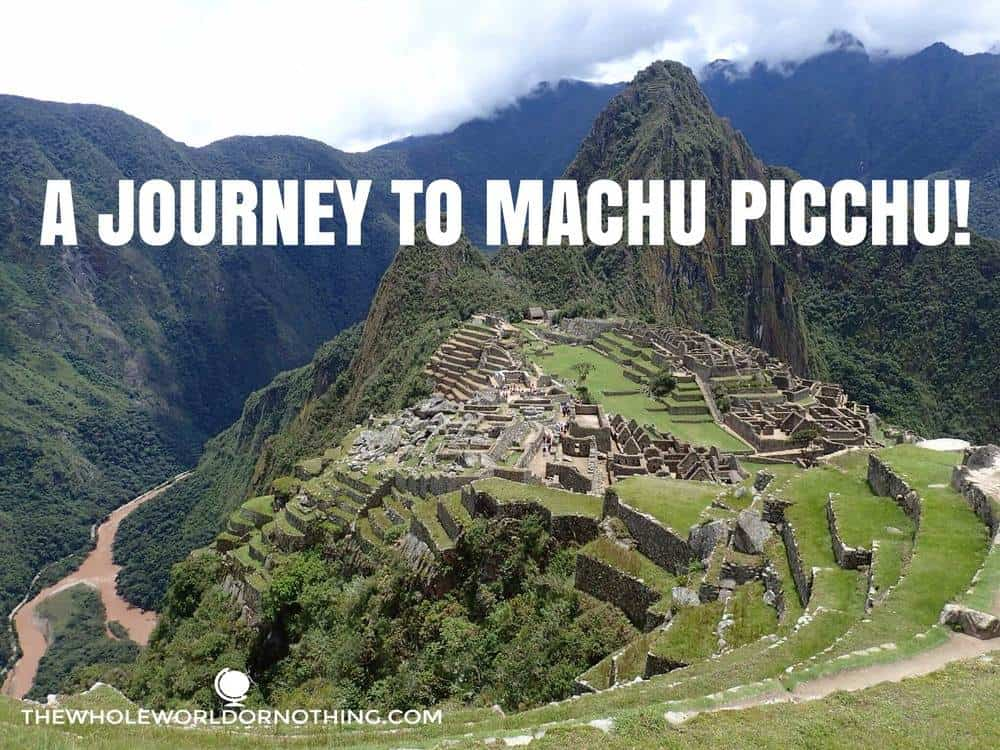 beautiful machu picchu with text overlay a journey to machu picchu