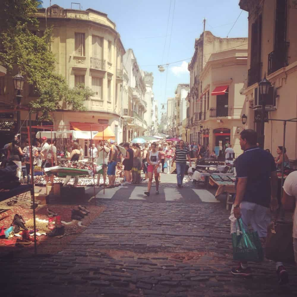 busy streets in San Telmo
