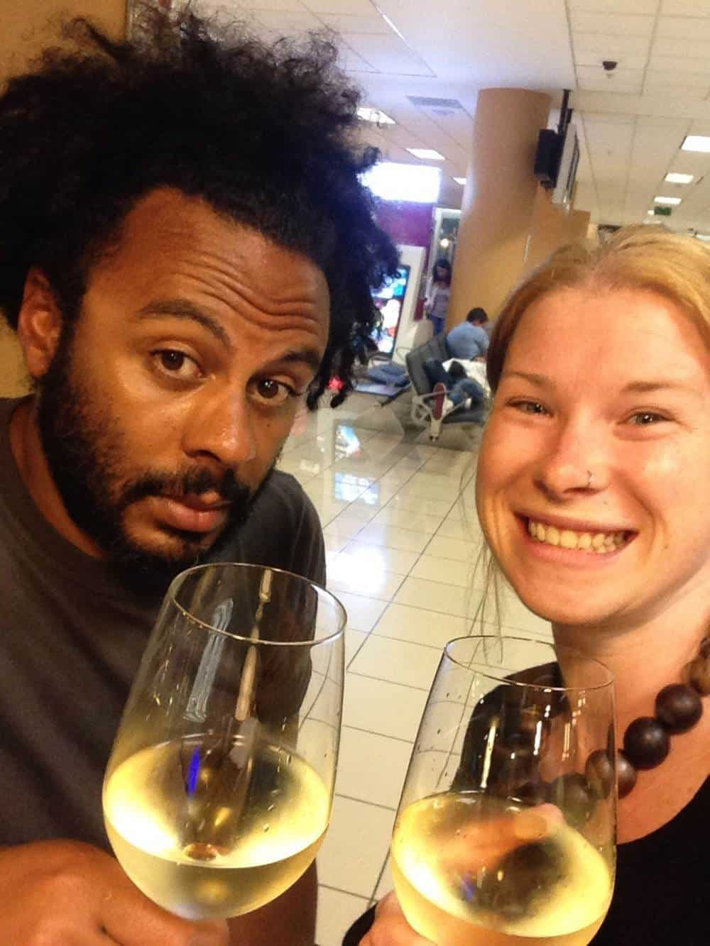 James and Sarah with Sauvignon Blanc for 9USD