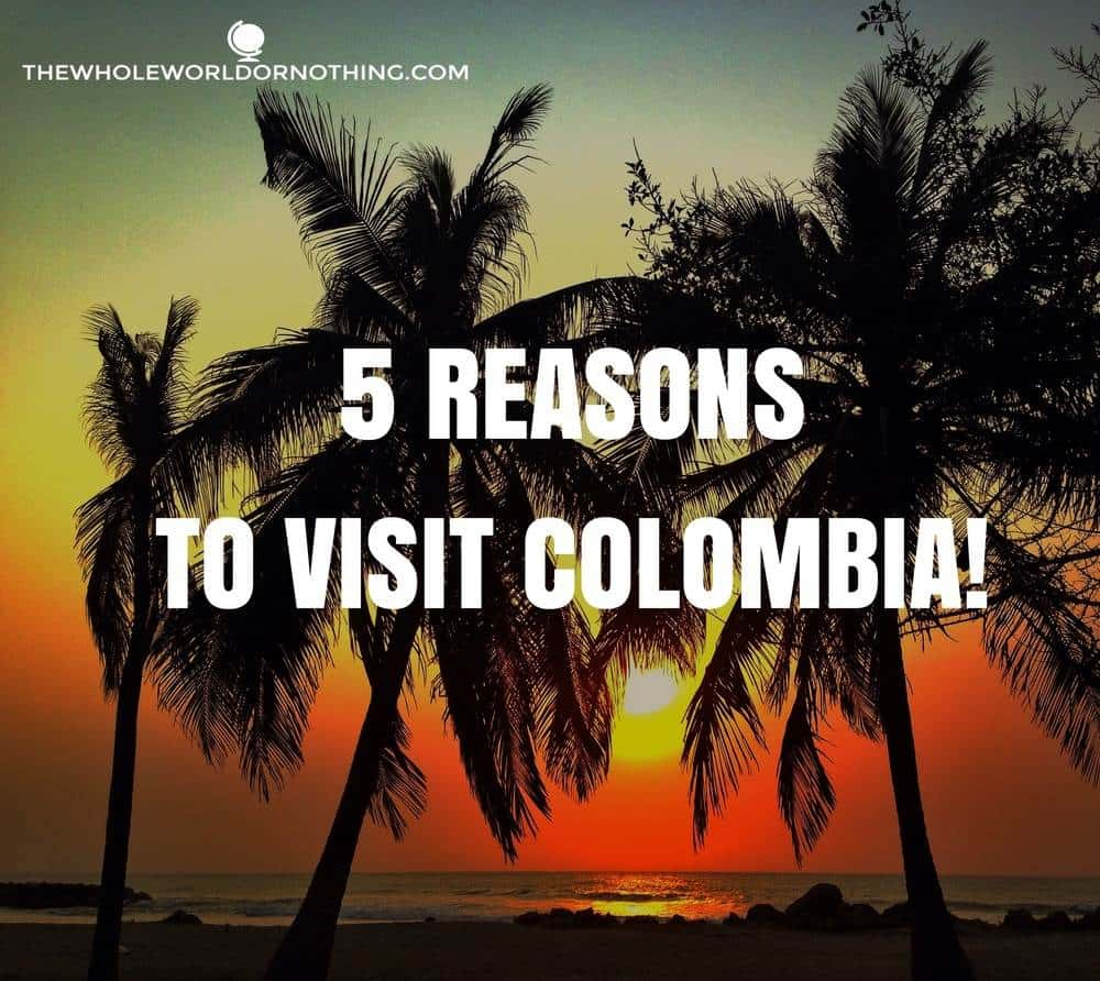 coconut trees on the beach with text overlay 5 reasons to travel in colombia
