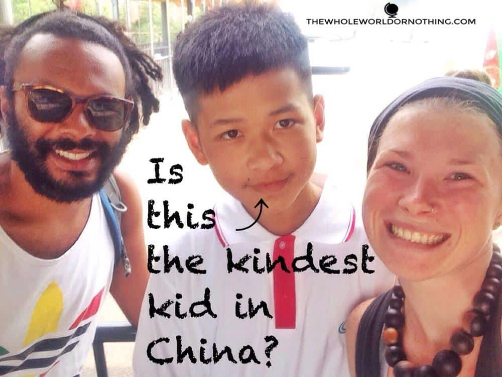James and Sarah with Kevin with text overlay is this the kindest kid in China