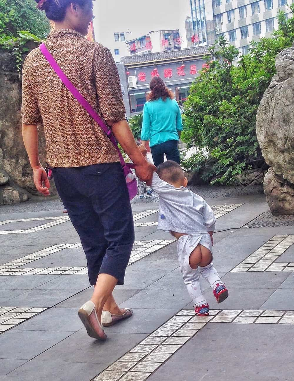 mother and kid with cool pants