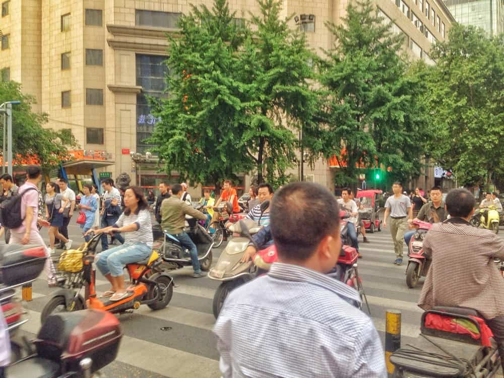 pedestrians and mopeds