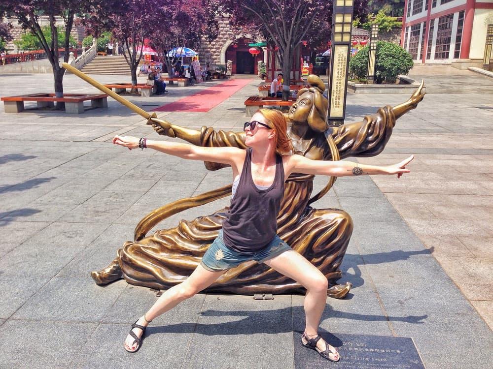 sarah copying the statue pose