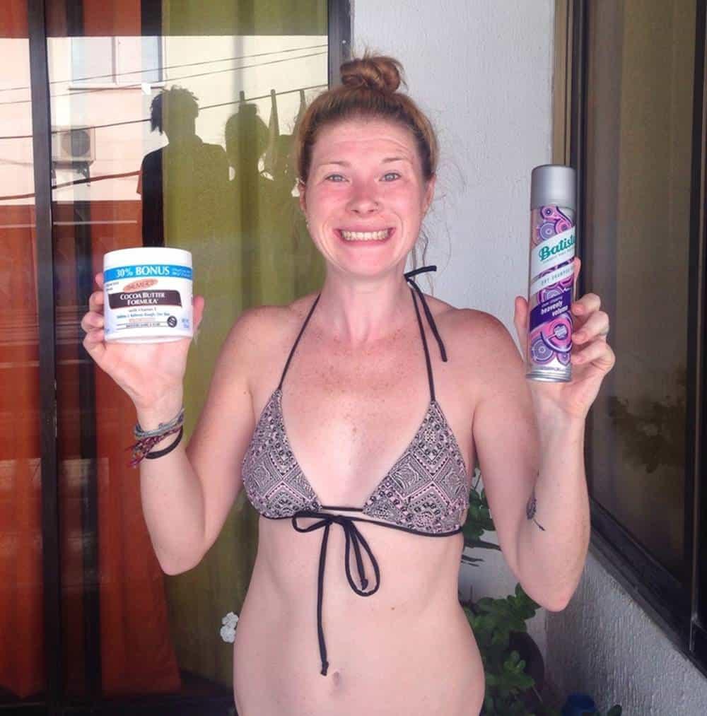 Sarah holding moisturizers