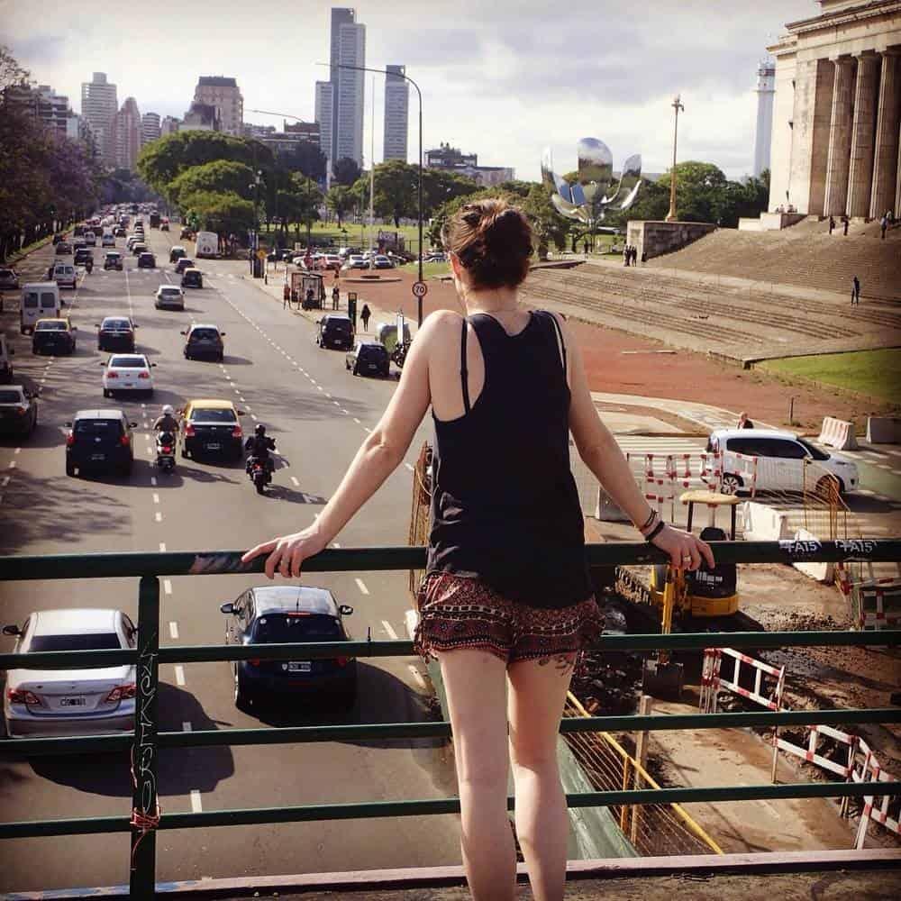 Sarah on the footbridge