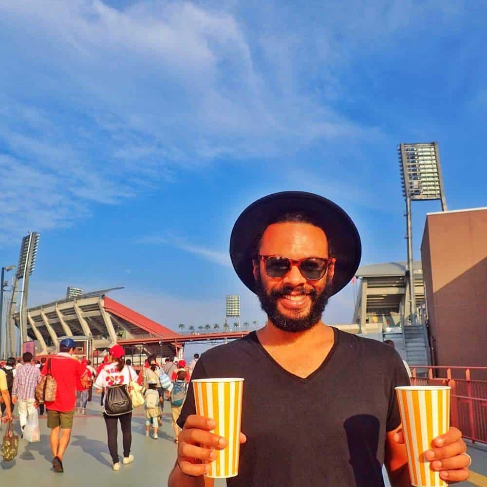 james buying drinks baseball game japan
