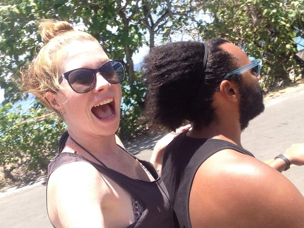 Jame and Sarah on the moped