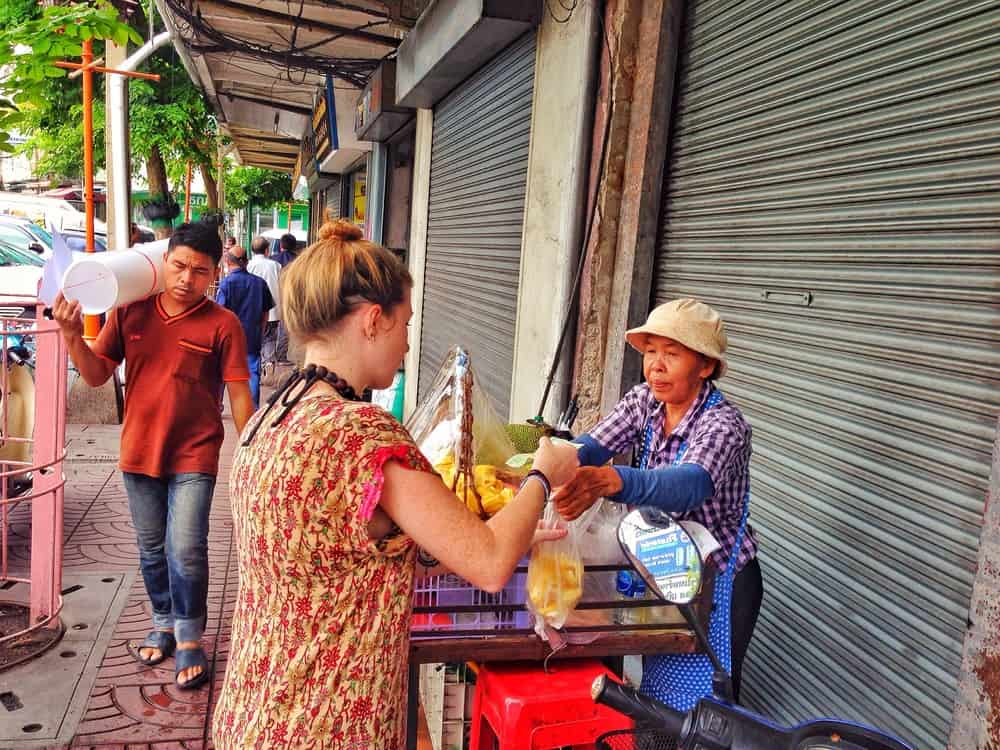 Sarah buying street foods