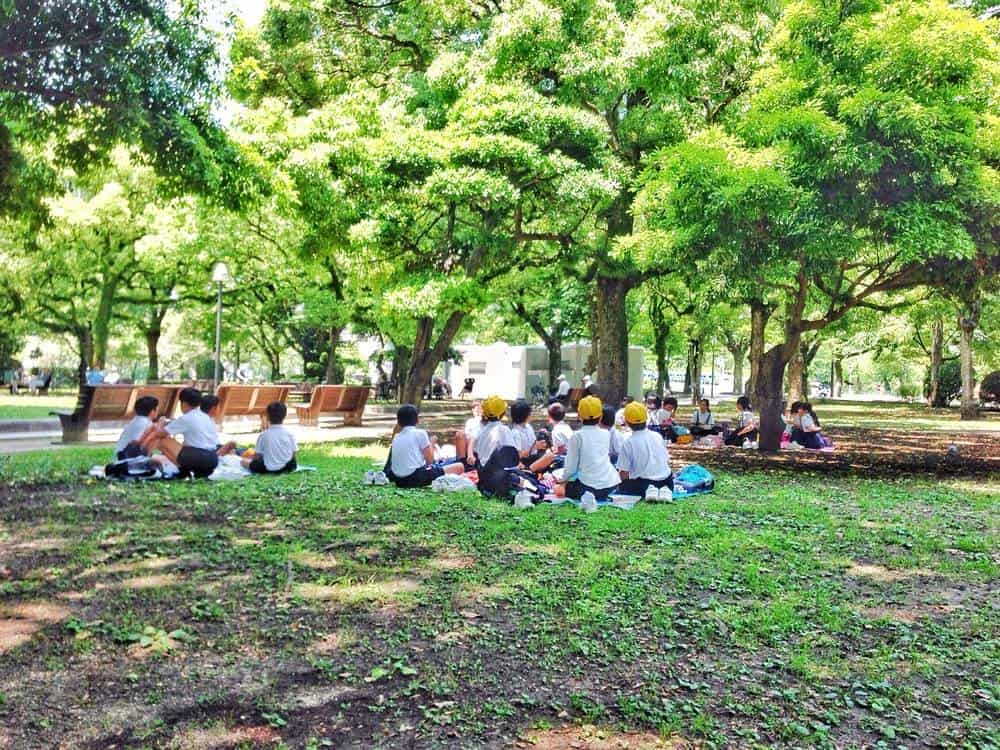 School kids having their lunch in Peace Park