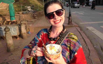 Sarah with Ice-cream in Laos