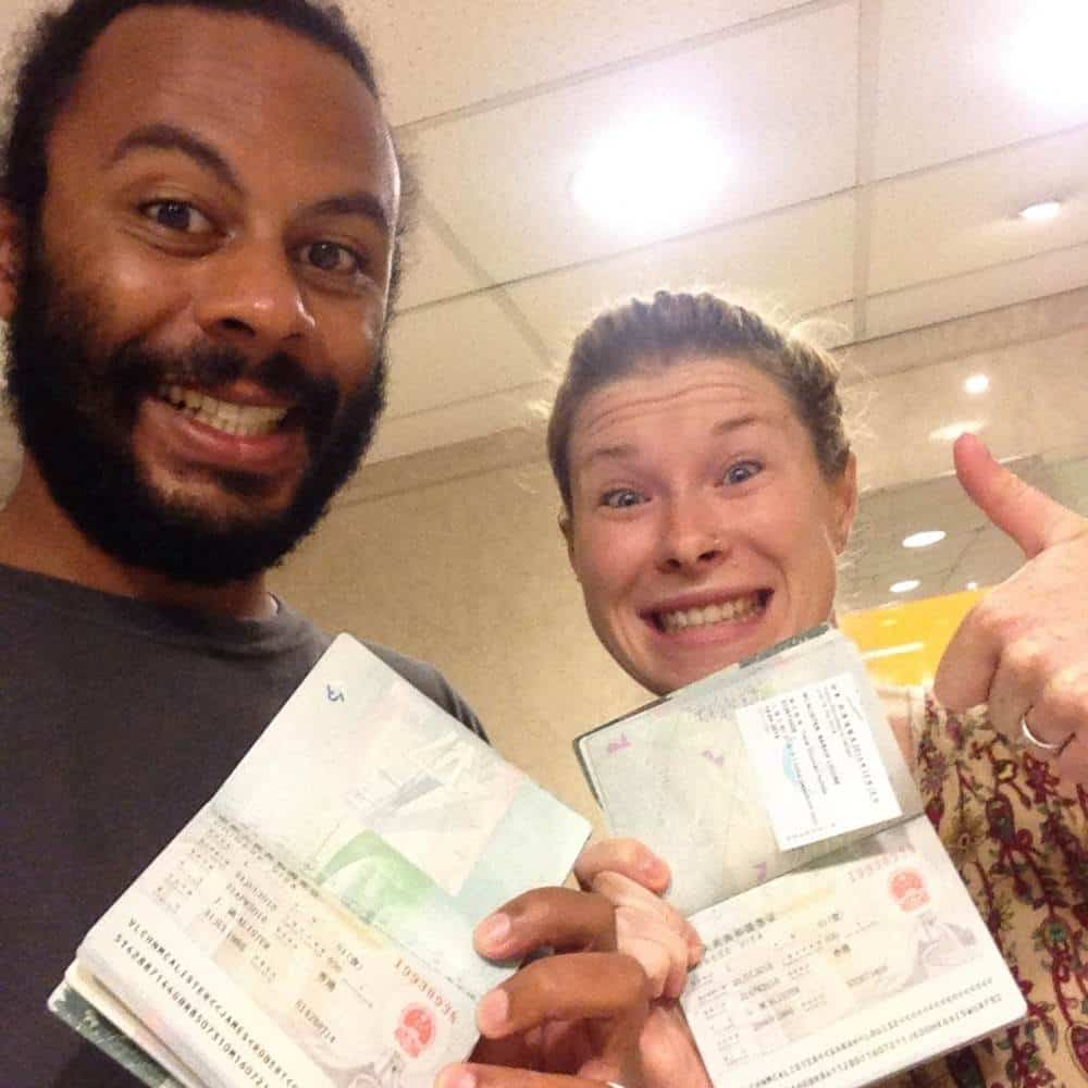 James and Sarah with their Chinese visa
