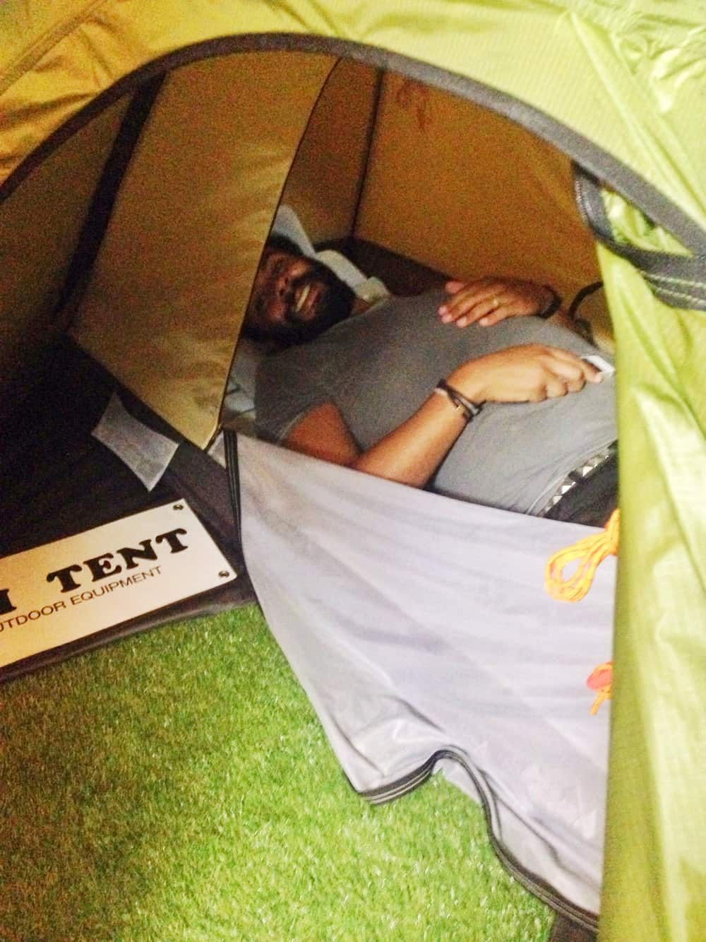 James on a tent