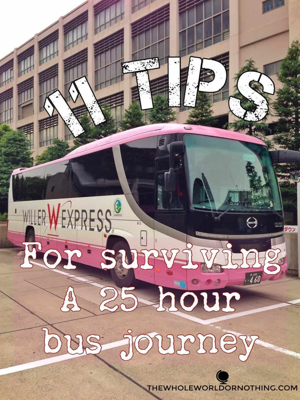 willer express bus with text overlay 11 tips for surviving a 25 hour bus journey