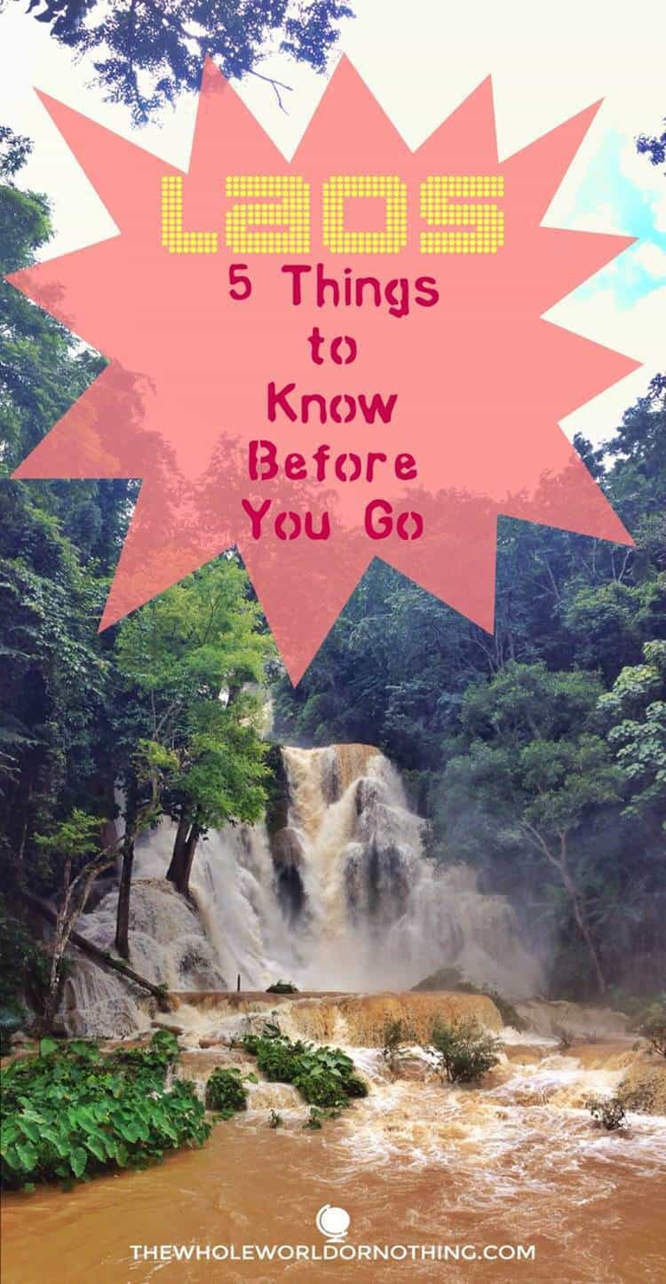 Falls with text overlay Laos 5 things to know before you go