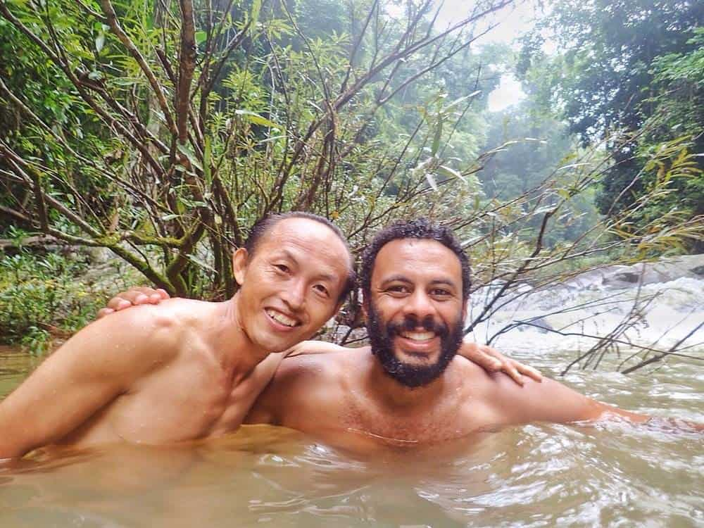 James Cooling off in the water with Mr Singh
