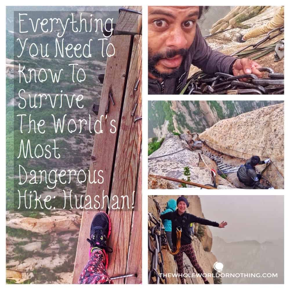 James and Sarah on Huashan with text overlay everything you need to know about surviving the world's most dang