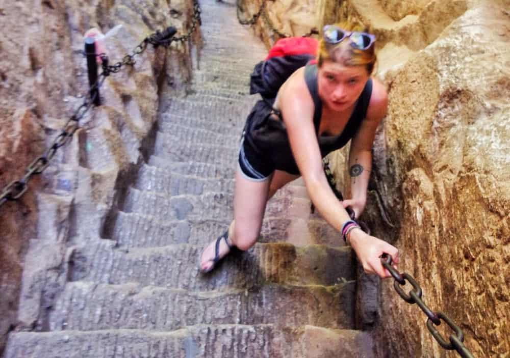 Sarah at The tough climb up High Lord Furrow