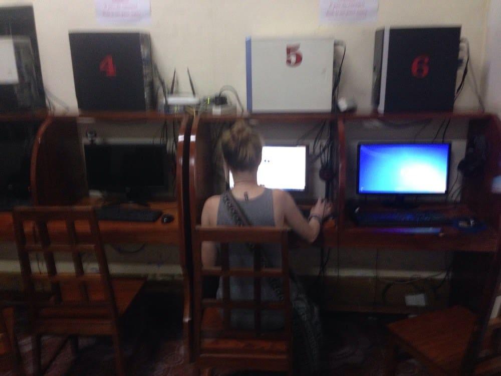 Sarah in a computer shop