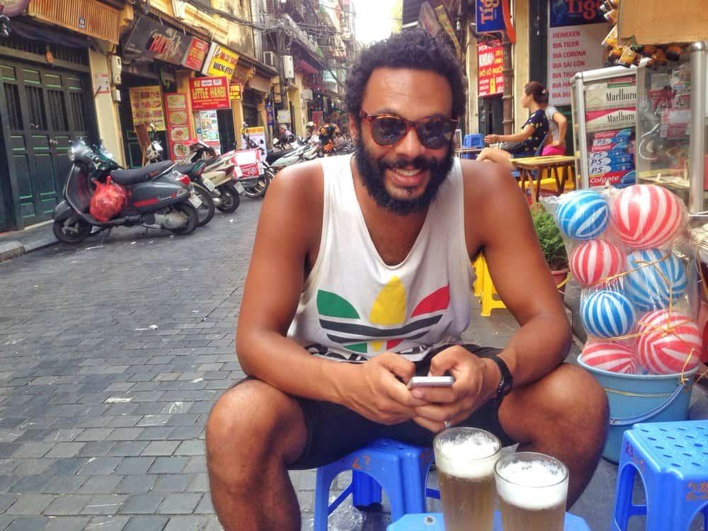 James Drinking Bia Hoi on Beer Corner Hanoi