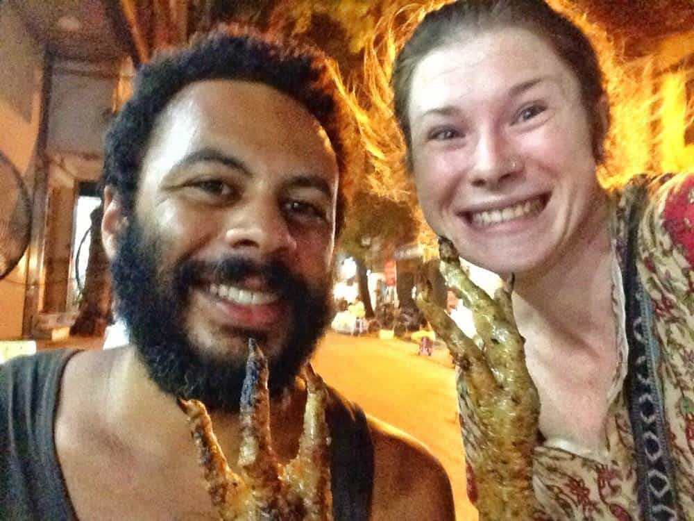 James and Sarah Enjoying chicken feet on Hanoi's BBQ Chicken Street