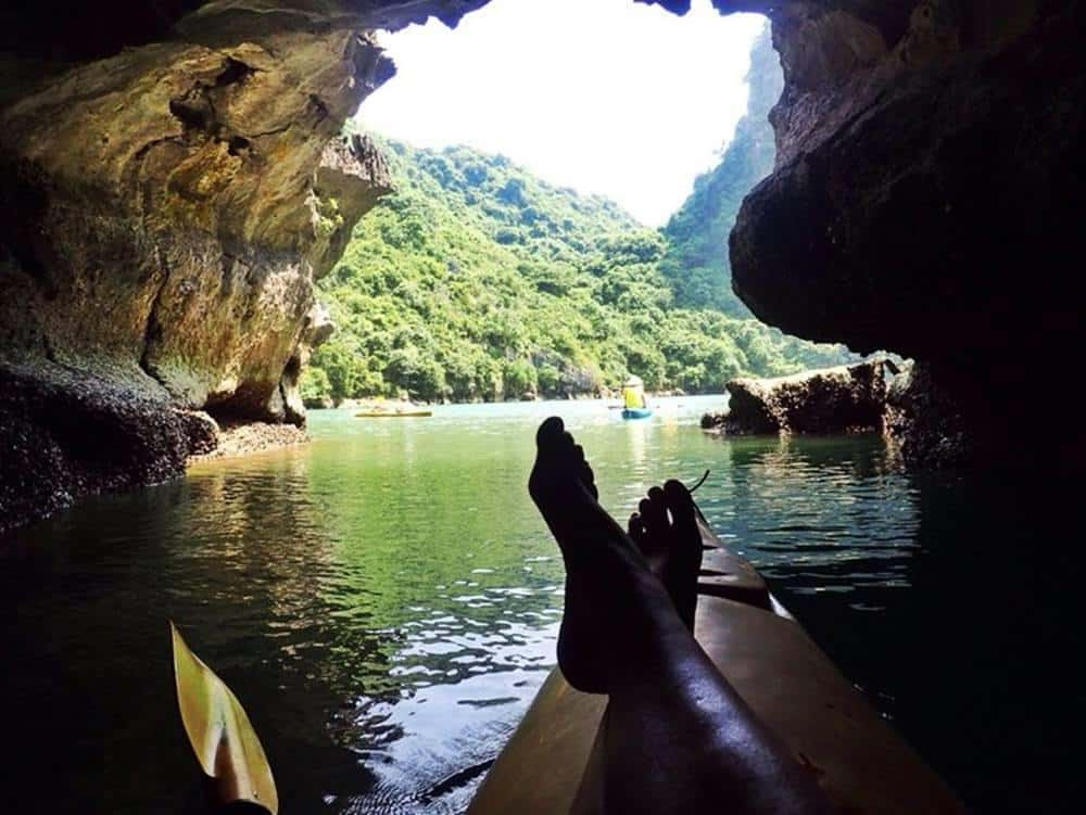 Kayaking out of Dark Cave