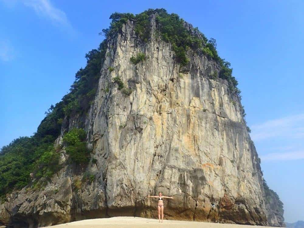 Sarah on her own secluded beach in Lan Ha Bay