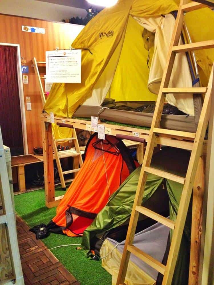 The crazy camping shop hostel in Tokyo