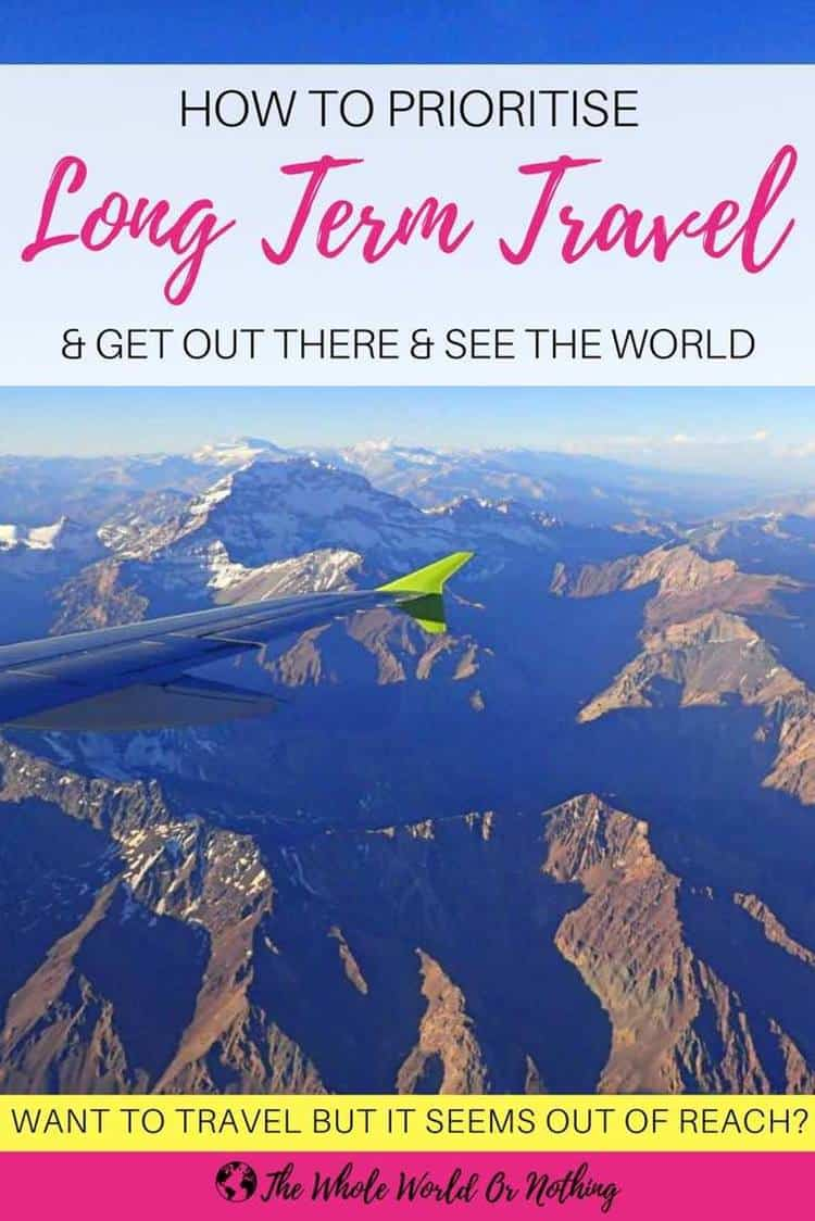 View on a window plane with text overlay how to prioritise long term travel and get out there and see the world