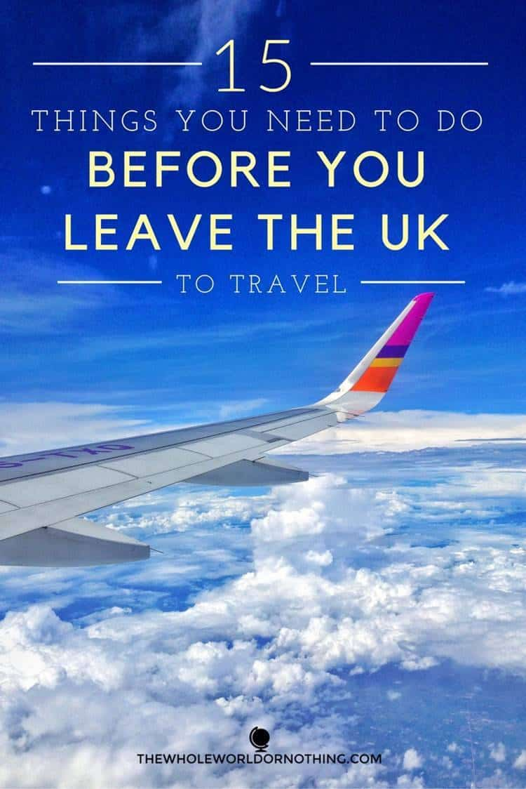 view on the window plane with text overlay 15 things you need to do before you leave the UK to travel