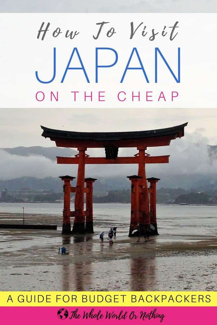 Itsukushima Shrine with text overlay How to visit Japan on the cheap 5 useful budget travel tips