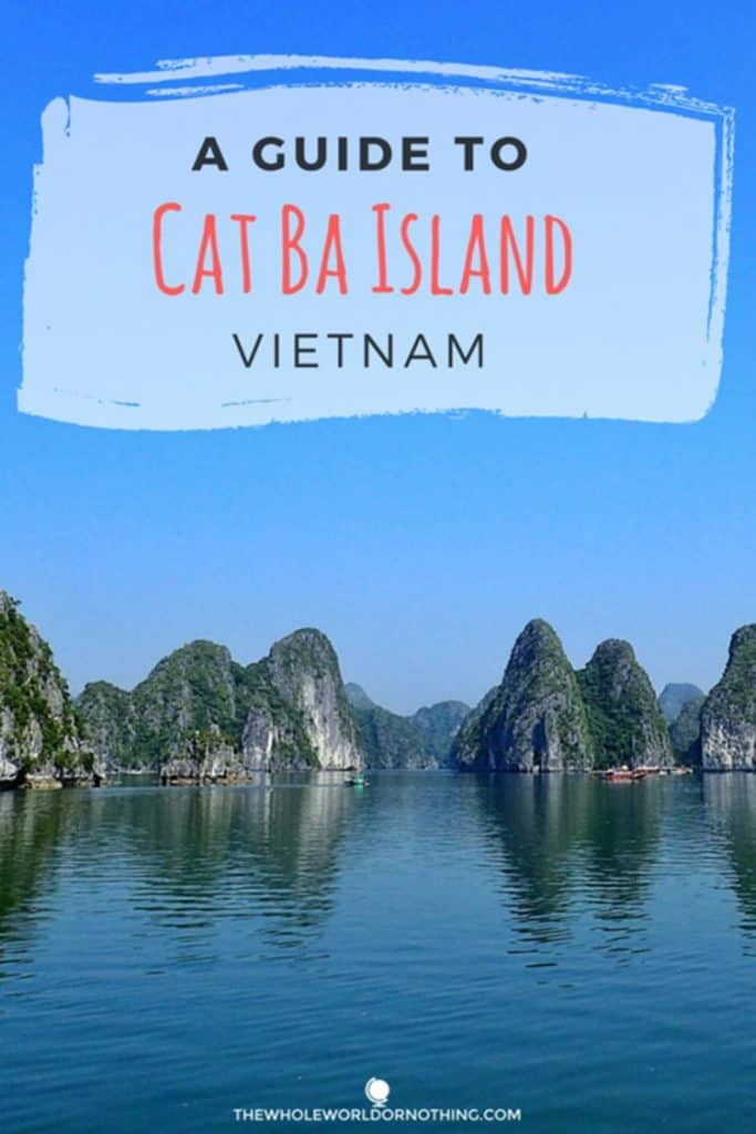Cat Ba island with text overlay A guide to Cat Ba Island Vietnam