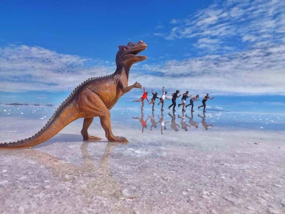 James and Sarag with friends Larking about on the Bolivian salt flats
