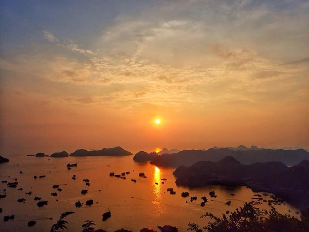Sunset view from Cat Ba Fort Cannon