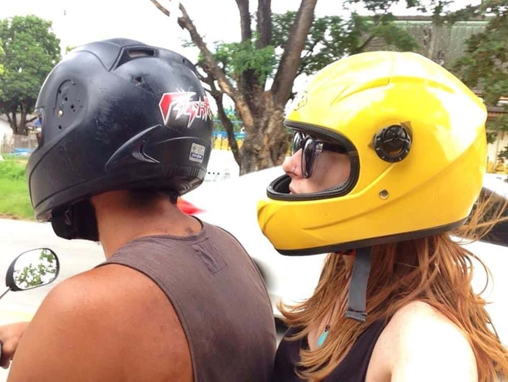 James and Sarah on a motorcycle