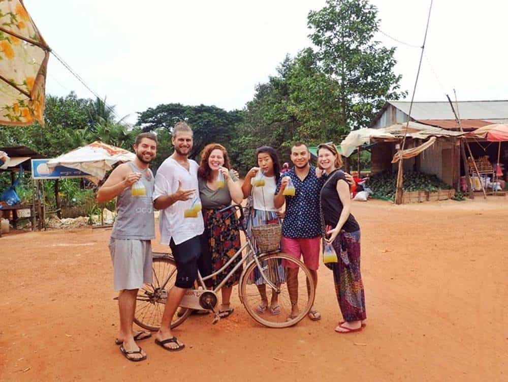 Trip out into the village for sugar cane with Sarah's new friends