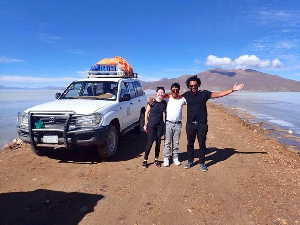James and Sarah arrived at Bolivian Salt Flats