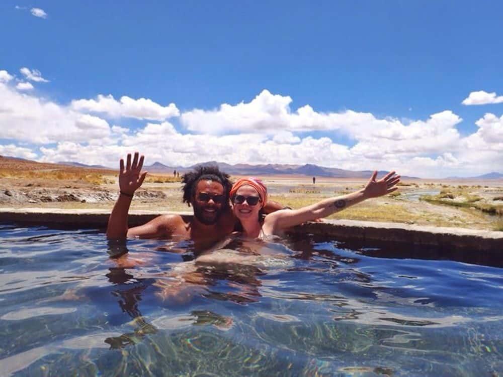 James and Sarah on a hotspring